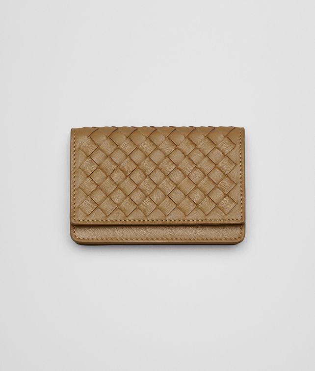 BOTTEGA VENETA CAMEL INTRECCIATO NAPPA CARD CASE Small Wallet Woman fp
