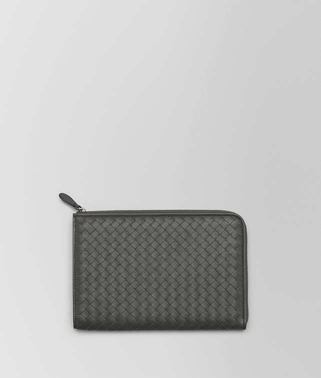 BOTTEGA VENETA DOCUMENT CASE IN NEW LIGHT GREY INTRECCIATO NAPPA Other Leather Accessory E fp