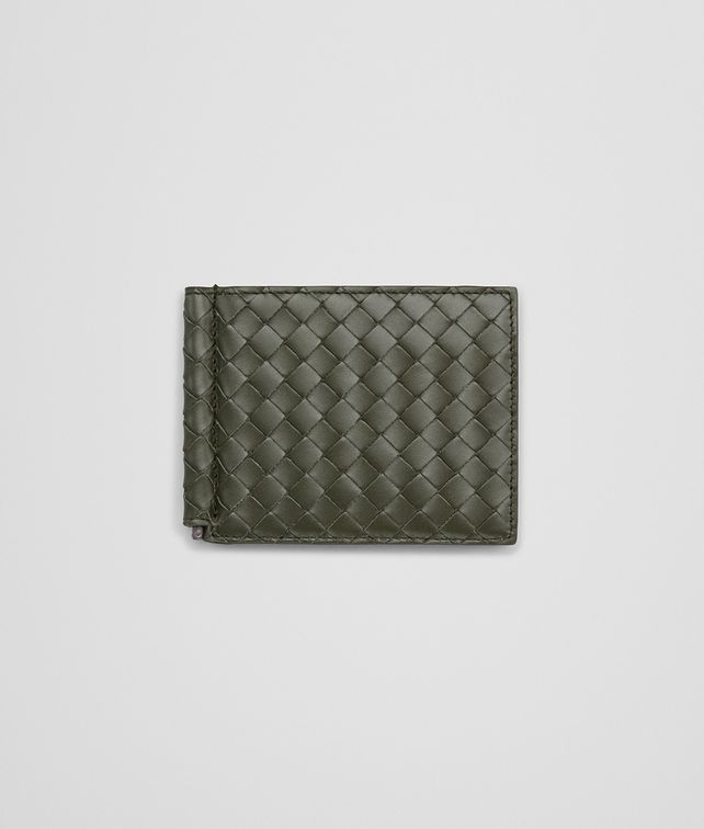 BOTTEGA VENETA BI-FOLD WALLET WITH MONEY CLIP IN DARK SERGEANT INTRECCIATO VN Bi-fold Wallet U fp