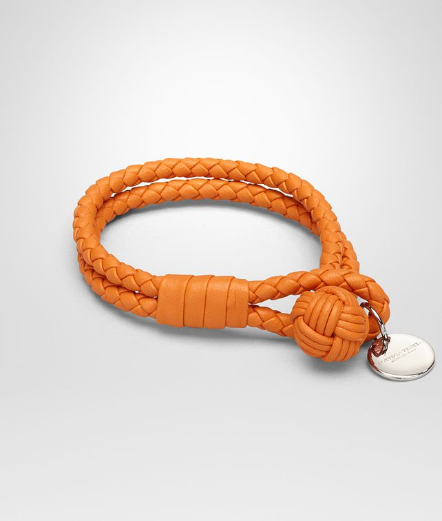 BOTTEGA VENETA PERSIMMON INTRECCIATO NAPPA BRACELET Keyring or Bracelets E fp