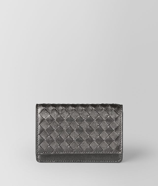 BOTTEGA VENETA ARGENTO OSSIDATO INTRECCIATO GROS GRAIN CARD CASE Card Case or Coin Purse E fp