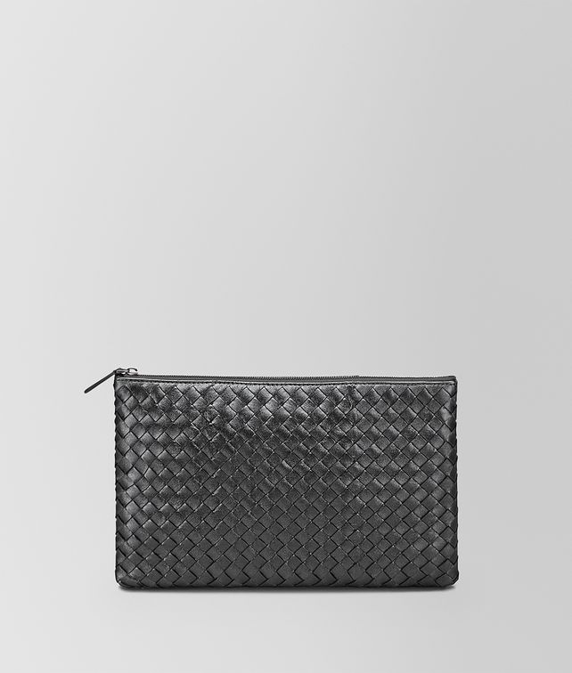 BOTTEGA VENETA MEDIUM DOCUMENT CASE IN ARGENTO OSSIDATO INTRECCIATO GROS GRAIN Other Leather Accessory D fp