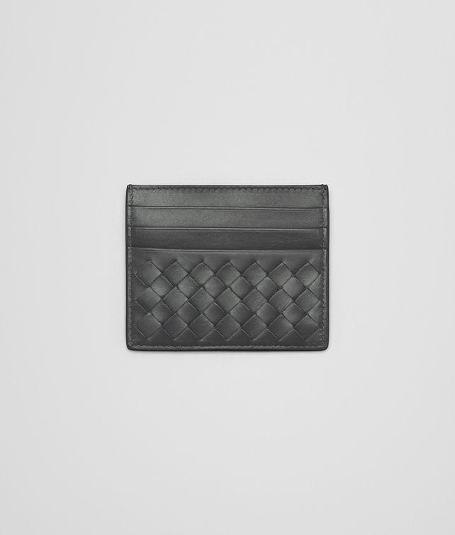 713f31be5263f BOTTEGA VENETA CARD CASE IN NEW LIGHT GREY INTRECCIATO CALF Small Wallet  Woman fp