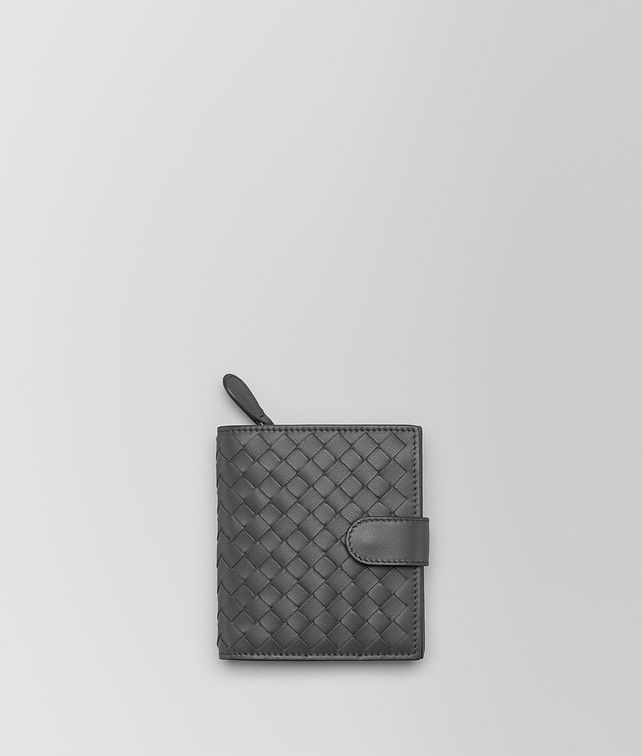 BOTTEGA VENETA MINI WALLET IN NEW LIGHT GREY INTRECCIATO NAPPA Mini Wallet or Coin Purse Woman fp