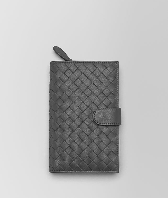BOTTEGA VENETA CONTINENTAL WALLET IN NEW LIGHT GREY INTRECCIATO NAPPA Continental Wallet Woman fp