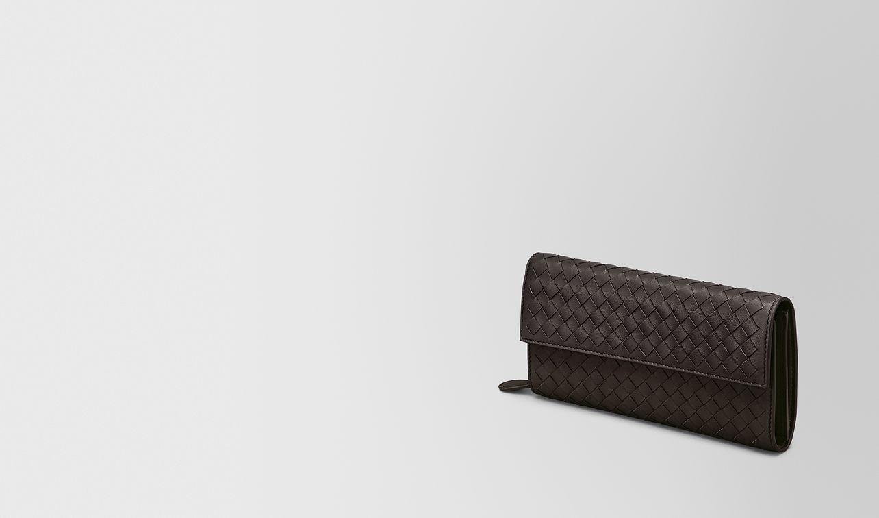 continental wallet in espresso intrecciato nappa landing