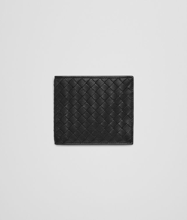BOTTEGA VENETA BI-FOLD WALLET IN NERO NEW LIGHT GREY CALF INTRECCIATO Bi-fold Wallet Man fp