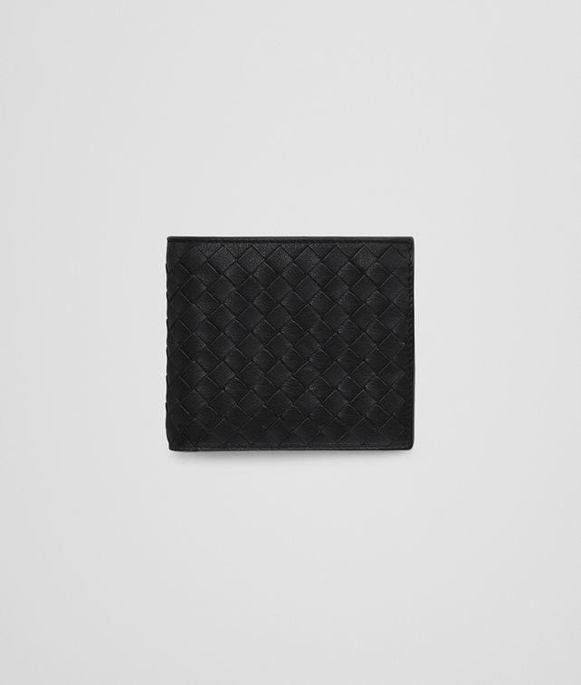 BOTTEGA VENETA BI-FOLD WALLET WITH COIN PURSE IN NERO NEW LIGHT GREY CALF INTRECCIATO Bi-fold Wallet U fp