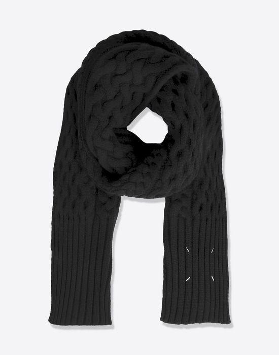 Maison margiela charpe tricot e en grosse laine femme store officiel - Grosse echarpe en laine ...