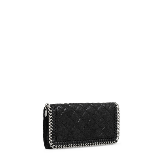 Black Falabella Quilted Shaggy Deer Flap Wallet