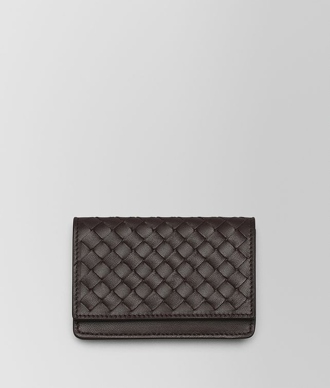 BOTTEGA VENETA ESPRESSO INTRECCIATO NAPPA CARD CASE Mini Wallet or Coin Purse D fp