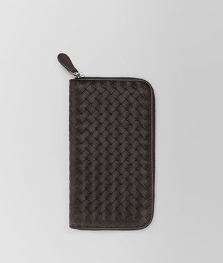 ZIP AROUND WALLET IN ESPRESSO INTRECCIATO VN