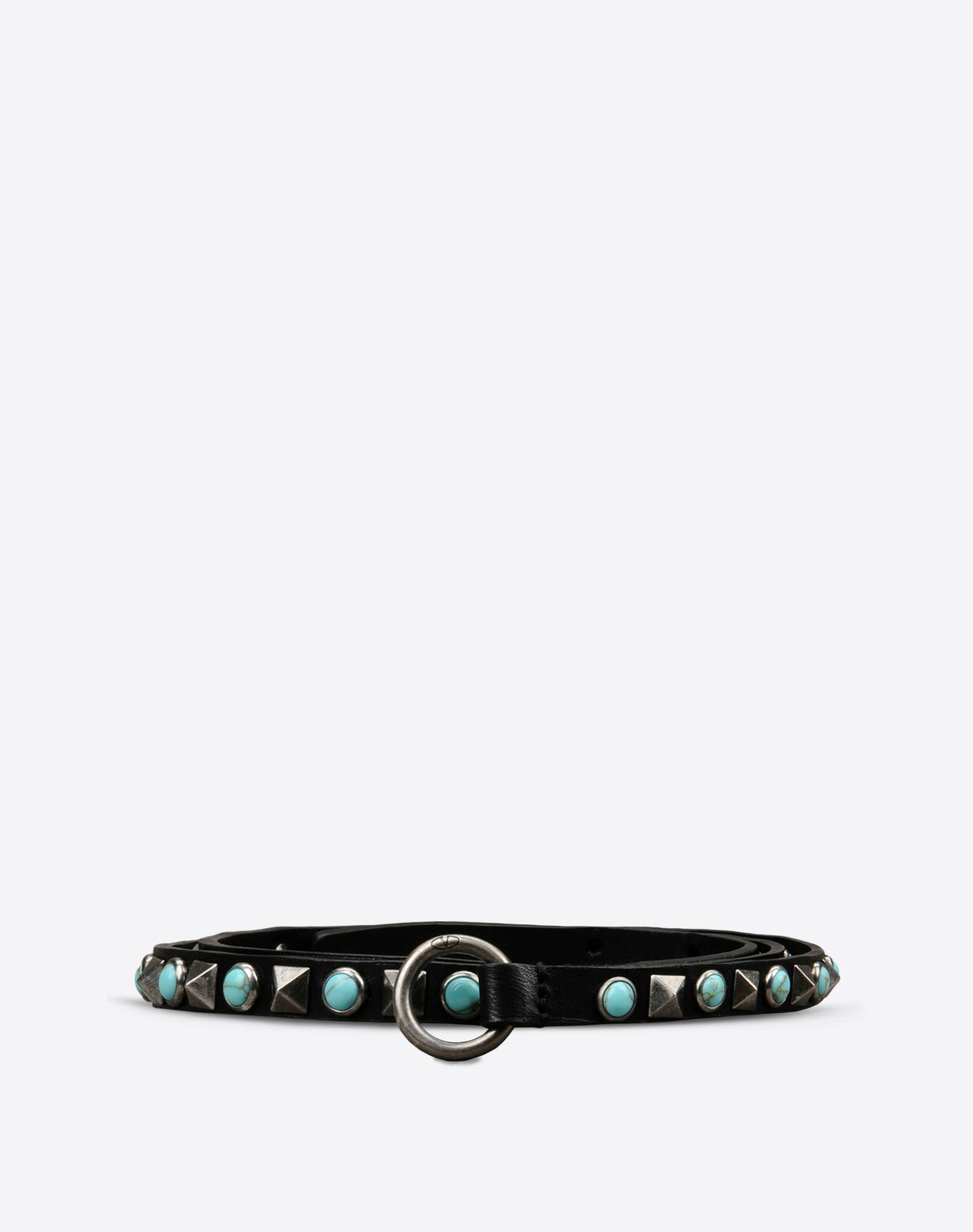 VALENTINO Valentino Garavani Rockstud Rolling leather belt  - Antique silver-finish brass studs  - Turquoise paste stones  - Adjustable pin closure  - Dimensions:H10mm  - Made in Italy 46426598nm