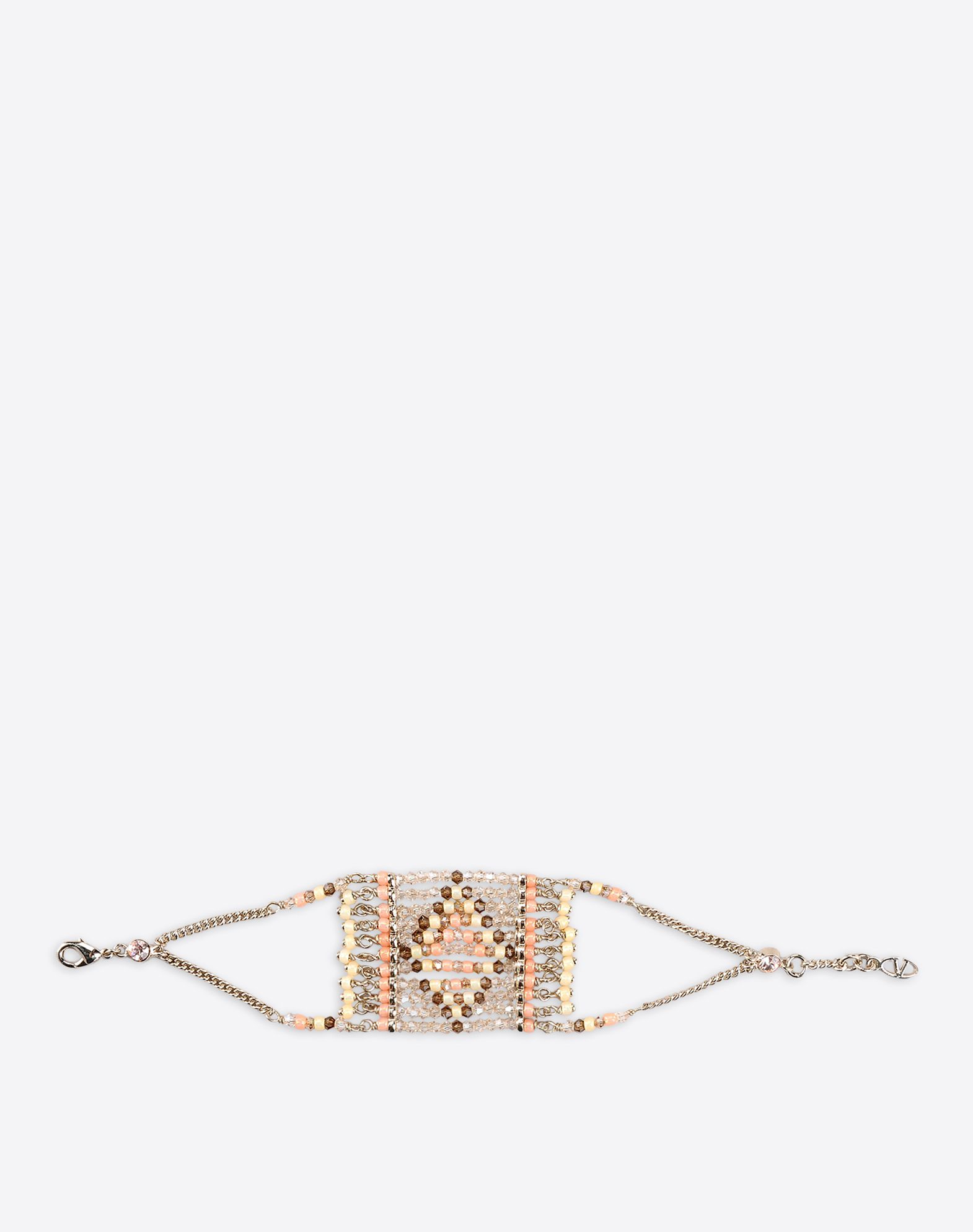 VALENTINO Valentino Garavani beads bracelet  - Platinum-finish brass chain   - Native Couture 1975 motif hand embroidered with beads  - Clasp closure  - Made in Italy 46426897mg