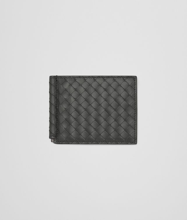BOTTEGA VENETA BI-FOLD WALLET WITH MONEY CLIP IN NEW LIGHT GRAY INTRECCIATO VN Bi-fold Wallet Man fp