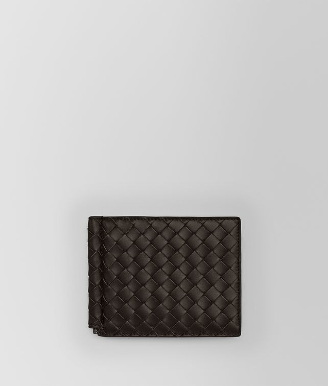 BOTTEGA VENETA BI-FOLD WALLET WITH MONEY CLIP IN ESPRESSO INTRECCIATO VN Bi-fold Wallet Man fp
