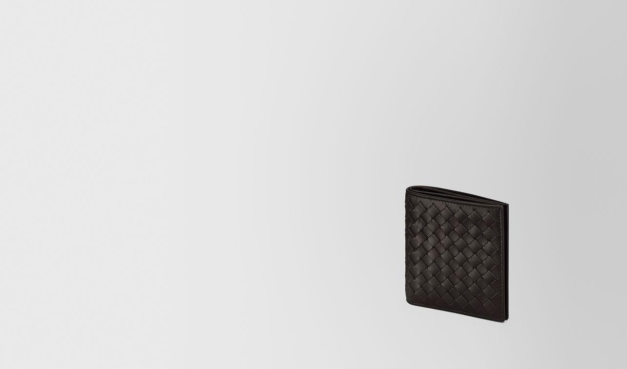 small bi-fold wallet in espresso intrecciato vn landing