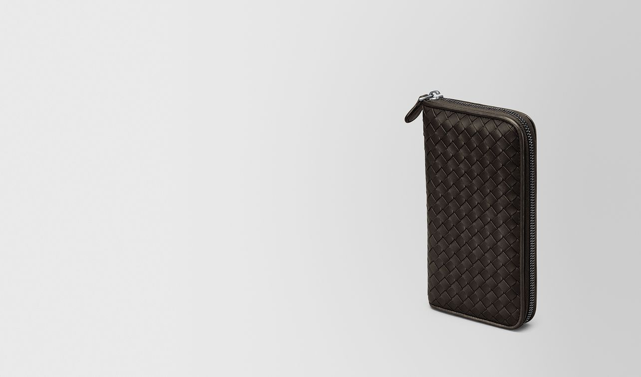 zip around wallet in espresso intrecciato nappa landing