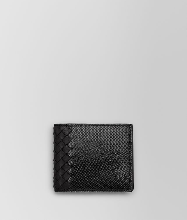 BOTTEGA VENETA BI-FOLD WALLET IN NERO KARUNG AND INTRECCIATO NAPPA Bi-fold Wallet U fp