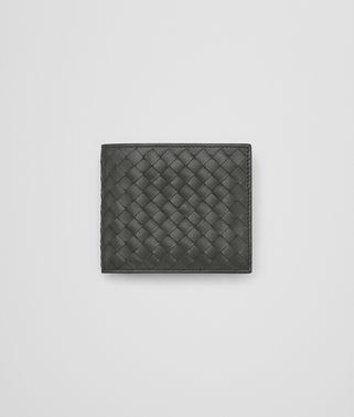 浅灰色编织皮革双折双折钱包,配有钱夹
