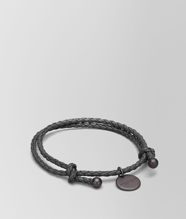BOTTEGA VENETA BRACCIALE IN INTRECCIATO NAPPA NEW LIGHT GREY Portachiavi o Braccialetto E fp