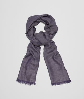 SCARF IN ANTHRACITE BLUE CASHMERE WOOL SILK