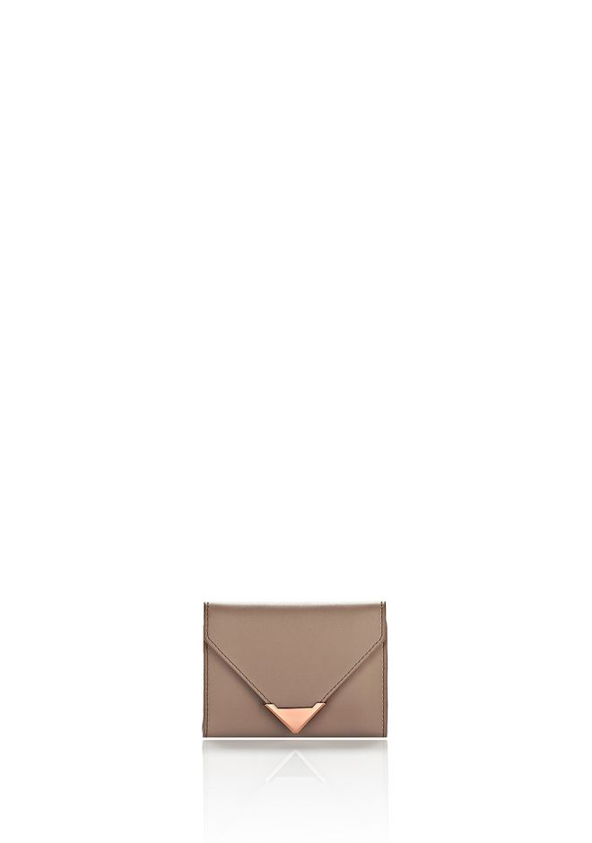 ALEXANDER WANG SMALL LEATHER GOODS Women PRISMA ENVELOPE COMPACT IN LATTE WITH ROSE GOLD