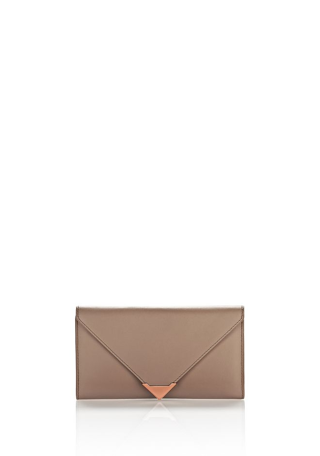 ALEXANDER WANG SMALL LEATHER GOODS Women PRISMA ENVELOPE WALLET IN LATTE WITH ROSE GOLD