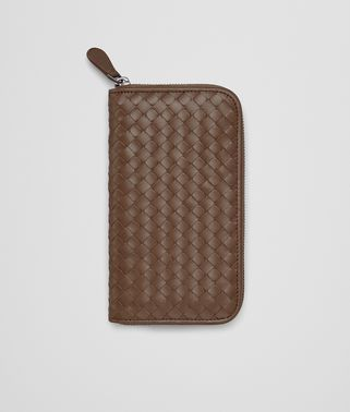 ZIP AROUND WALLET IN NEW CIGAR INTRECCIATO VN