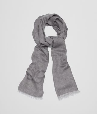 SCARF IN GRAPHITE MEDIUM GREY CASHMERE WOOL SILK