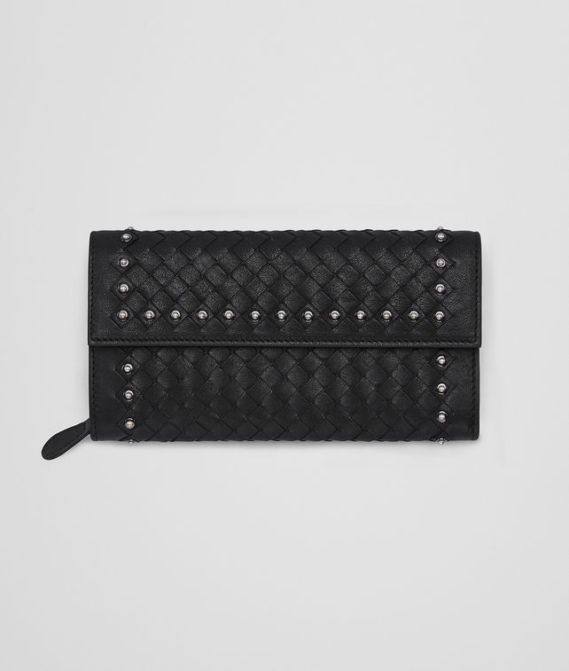 BOTTEGA VENETA CONTINENTAL WALLET IN NERO INTRECCIATO LAMB LEATHER , METAL STUDS Continental Wallet Woman fp