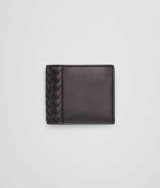 BI-FOLD WALLET IN NERO CALF WITH INTRECCIATO DETAILS