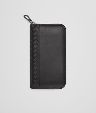 ZIP AROUND WALLET IN NERO CALF WITH INTRECCIATO DETAILS