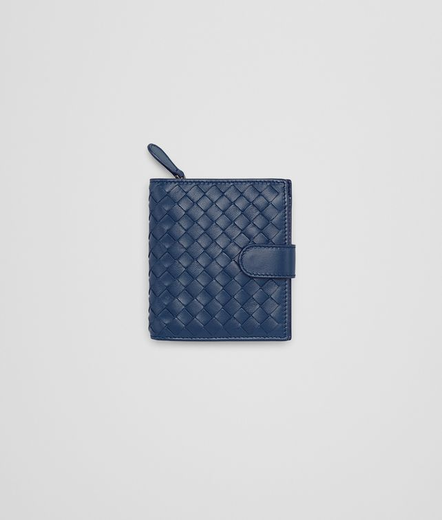 BOTTEGA VENETA MINI WALLET IN PACIFIC INTRECCIATO NAPPA Mini Wallet or Coin Purse Woman fp