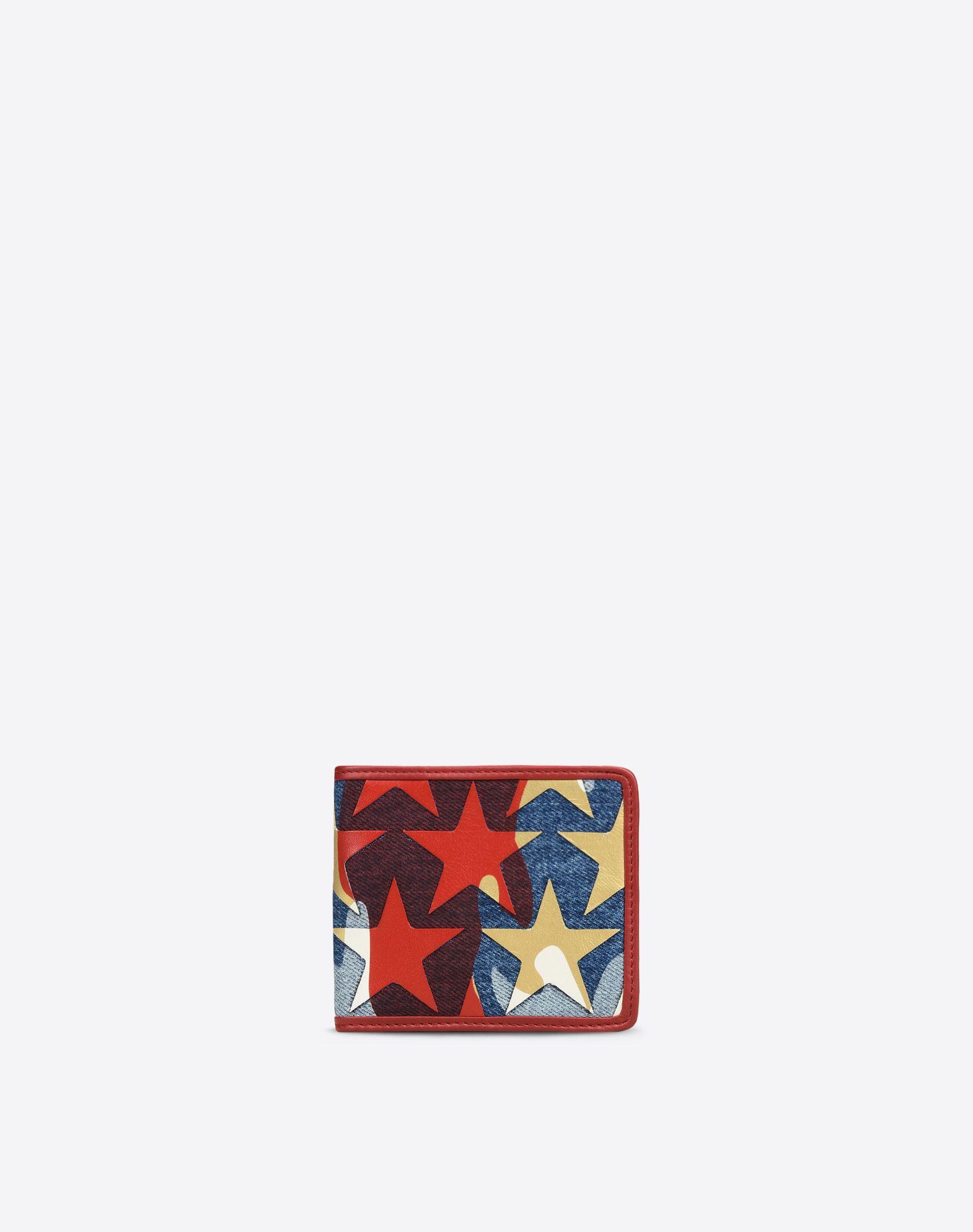 VALENTINO Logo Denim Multicolor Pattern Internal card slots  46450389cr
