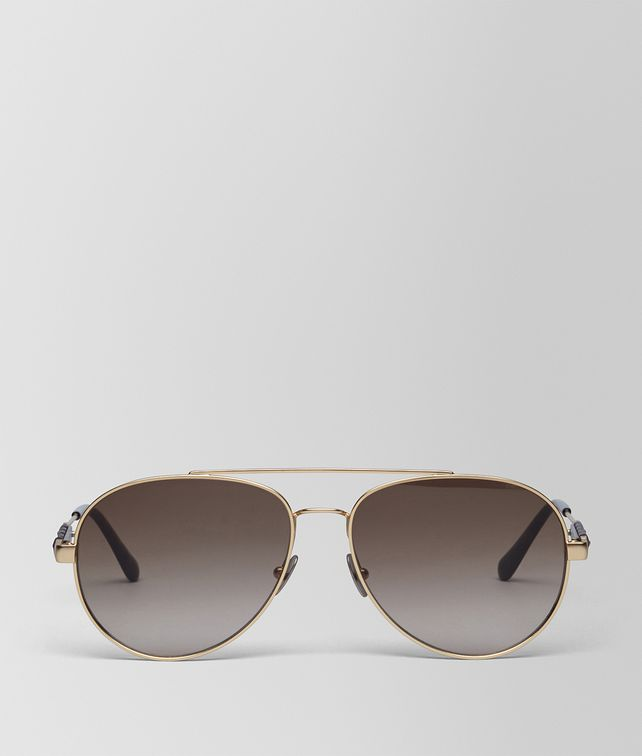 BOTTEGA VENETA SUNGLASSES IN GOLD METAL WITH BROWN LENS Sunglasses E fp
