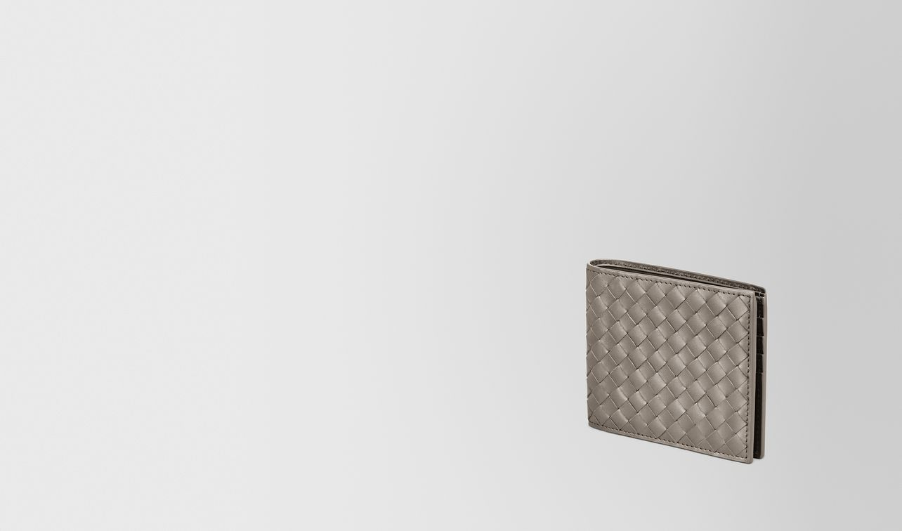 faltbares portemonnaie aus intrecciato vn in steel  landing