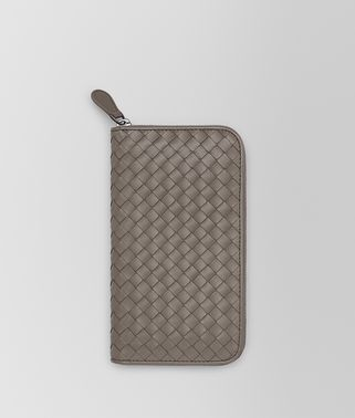 ZIP AROUND WALLET IN STEEL INTRECCIATO VN