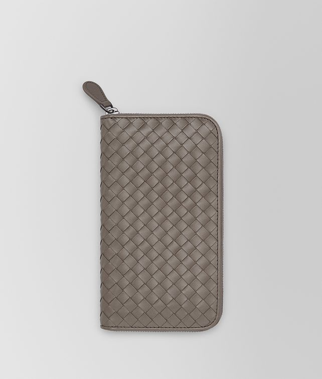 BOTTEGA VENETA ZIP AROUND WALLET IN STEEL INTRECCIATO VN Zip Around Wallet Man fp