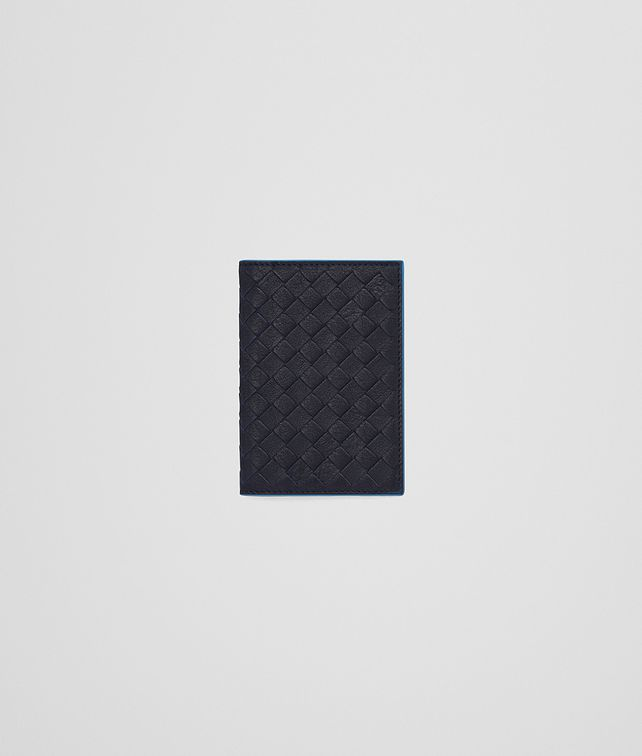 BOTTEGA VENETA CARD CASE IN NEW DARK NAVY PEACOCK INTRECCIATO CALF Card Case or Coin Purse U fp