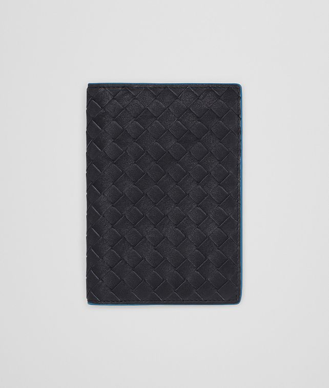 BOTTEGA VENETA PASSPORT CASE IN NEW DARK NAVY PEACOCK INTRECCIATO CALF Other Leather Accessory E fp
