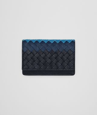 CARD CASE IN DARK NAVY PACIFIC PEACOCK INTRECCIATO CLUB AGNELLO