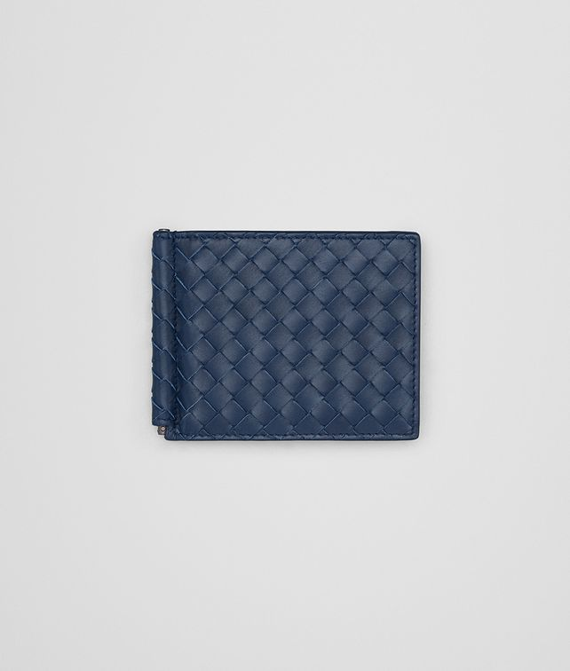 BOTTEGA VENETA BI-FOLD WALLET WITH MONEY CLIP IN PACIFIC INTRECCIATO VN Bi-fold Wallet Man fp