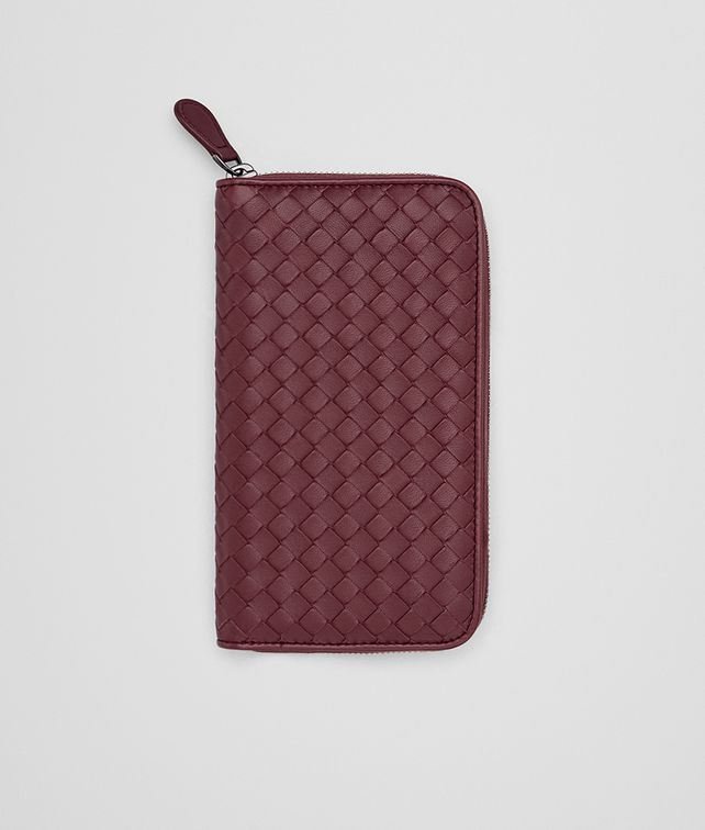 BOTTEGA VENETA ZIP AROUND WALLET IN BAROLO INTRECCIATO NAPPA Zip Around Wallet D fp