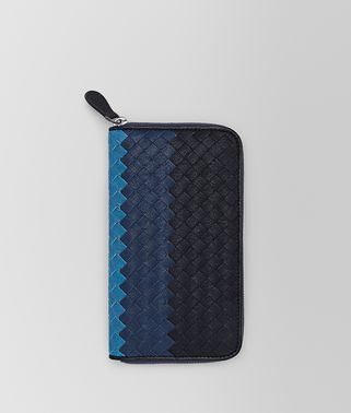 PORTEFEUILLE À FERMETURE ZIPPÉE EN CLUB INTRECCIATO DARK NAVY PACIFIC PEACOCK