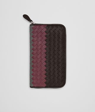 ZIP AROUND WALLET IN ESPRESSO BAROLO NEW LIGHT GREY INTRECCIATO CLUB LAMB LEATHER