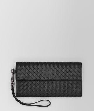 黑色编织小羊皮长款钱包
