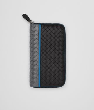 ZIP AROUND WALLET IN ARDOISE NERO PEACOCK INTRECCIATO NAPPA