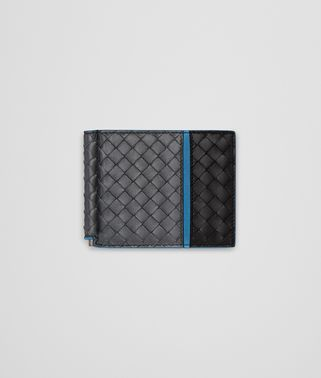 BI-FOLD WALLET WITH MONEY CLIP IN ARDOISE NERO PEACOCK INTRECCIATO NAPPA