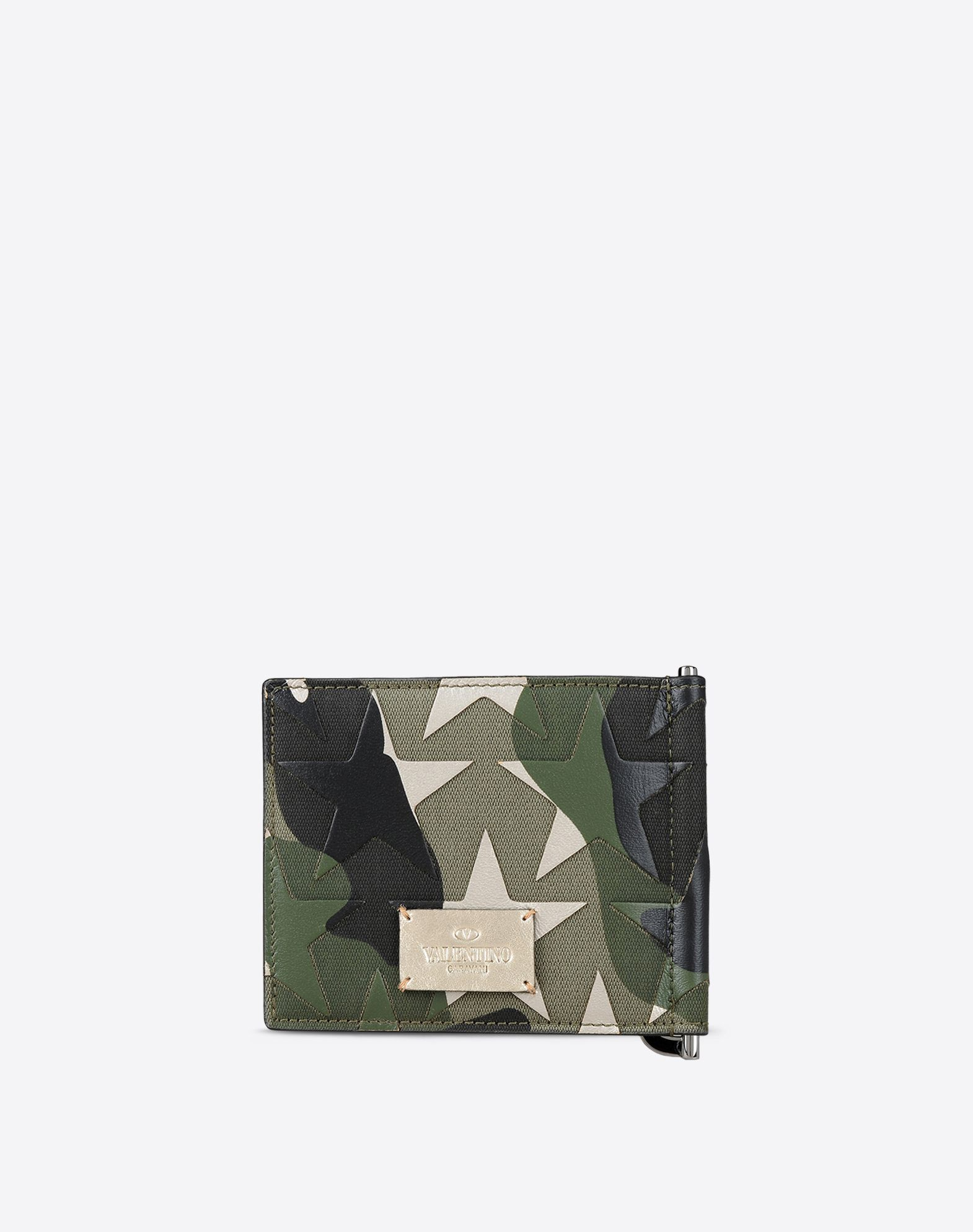 VALENTINO Logo Laminated effect Canvas Multicolor Pattern Internal card slots  46456458qw